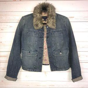 AEO Vintage Style Faux Fur Denim Jean Jacket XS
